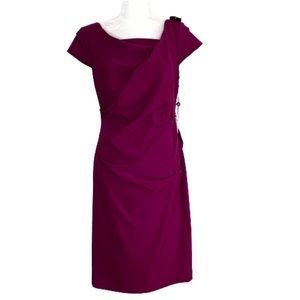 Adrianna Papell Ruched Sheath Dressy Dress Size 10